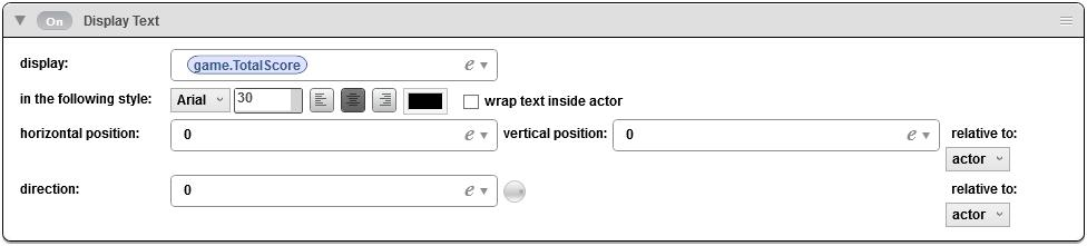 score display text